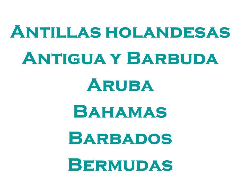Antillas holandesas Antigua y Barbuda Aruba Bahamas Barbados Bermudas
