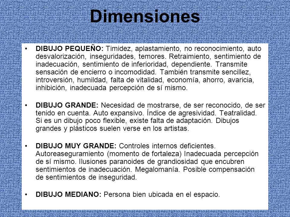 Dimensiones DIBUJO PEQUEÑO: Timidez, aplastamiento, no reconocimiento, auto desvalorización, inseguridades, temores. Retraimiento, sentimiento de inad