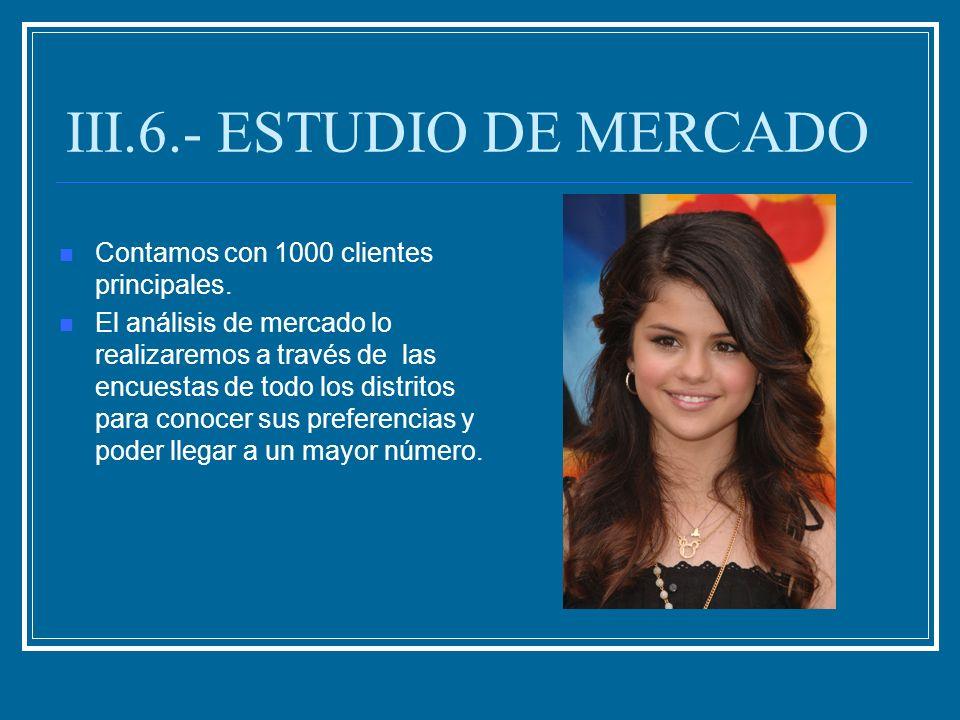III.6.- ESTUDIO DE MERCADO Contamos con 1000 clientes principales. El análisis de mercado lo realizaremos a través de las encuestas de todo los distri