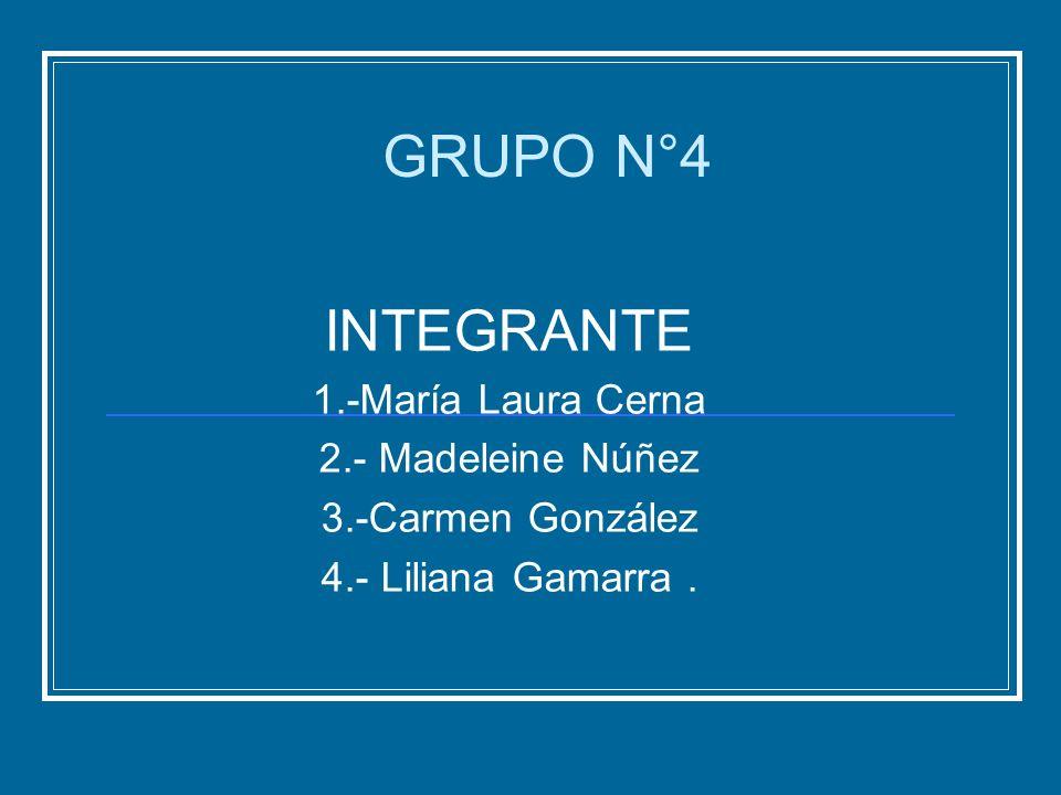 INTEGRANTE 1.-María Laura Cerna 2.- Madeleine Núñez 3.-Carmen González 4.- Liliana Gamarra. GRUPO N°4