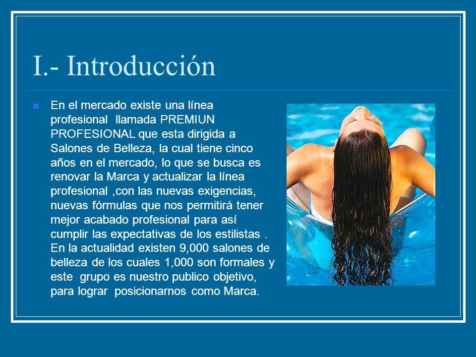 I.- Introducción En el mercado existe una línea profesional llamada PREMIUN PROFESIONAL que esta dirigida a Salones de Belleza, la cual tiene cinco añ