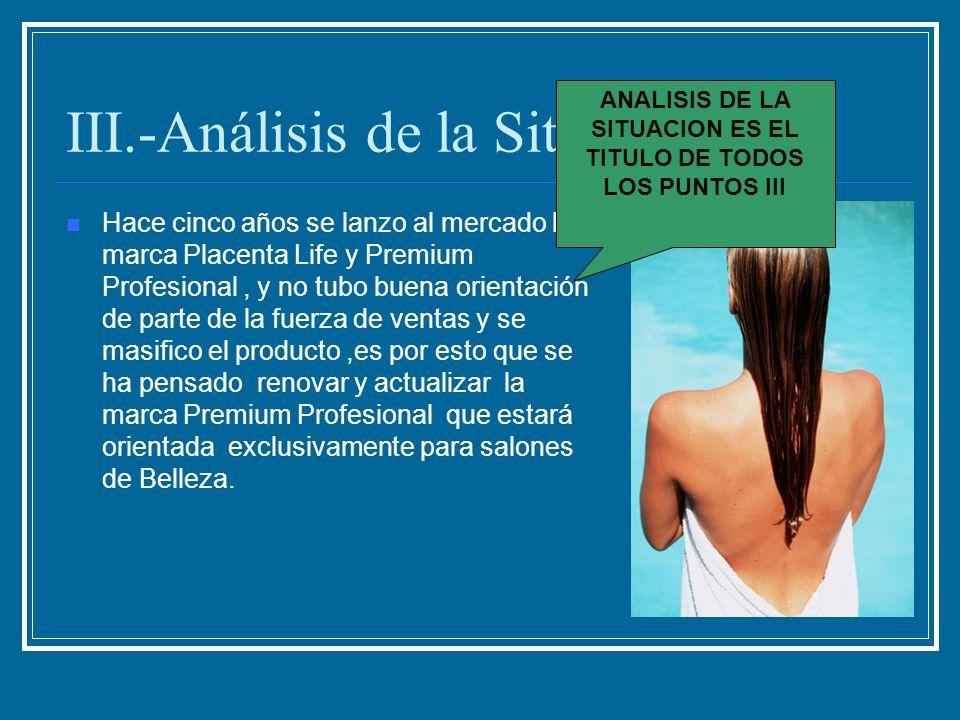III.-Análisis de la Situación Hace cinco años se lanzo al mercado la marca Placenta Life y Premium Profesional, y no tubo buena orientación de parte d