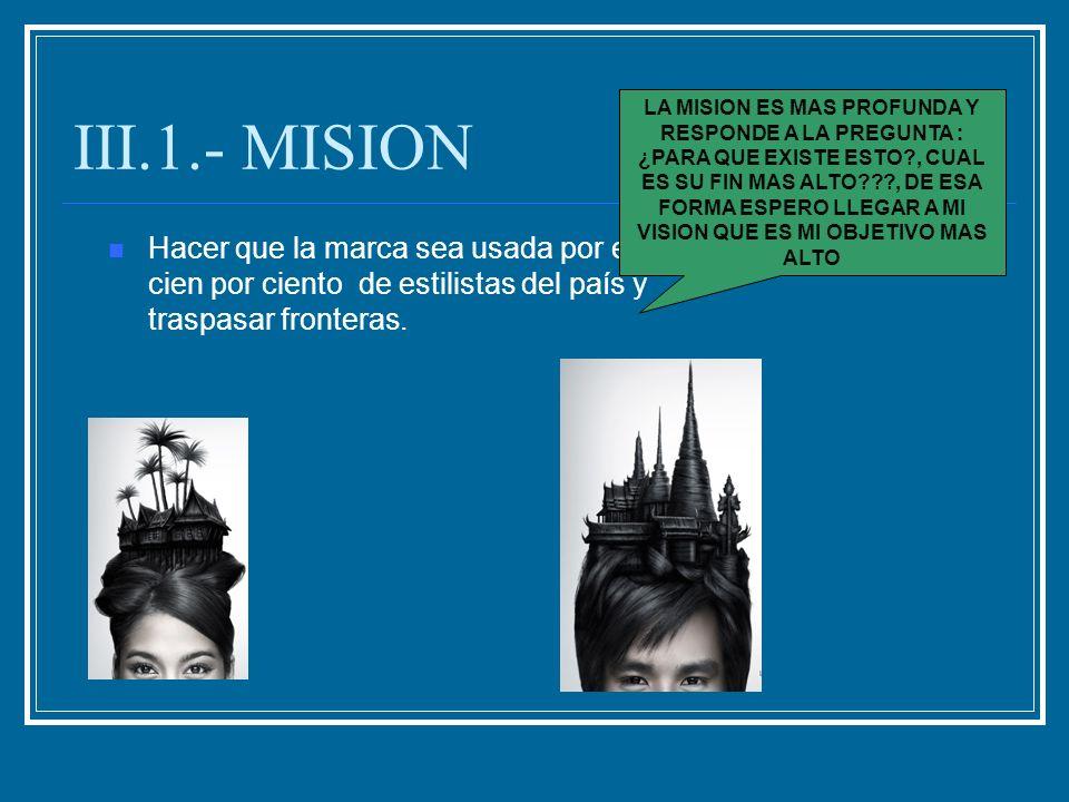 III.1.- MISION Hacer que la marca sea usada por el cien por ciento de estilistas del país y traspasar fronteras. LA MISION ES MAS PROFUNDA Y RESPONDE