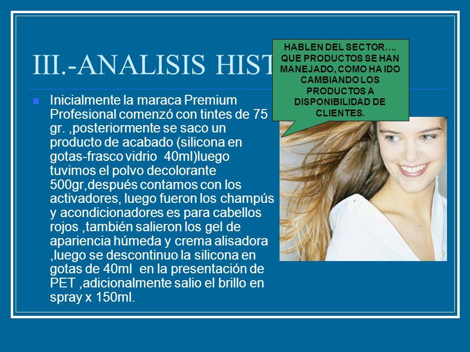 III.-ANALISIS HISTORICO Inicialmente la maraca Premium Profesional comenzó con tintes de 75 gr.,posteriormente se saco un producto de acabado (silicon