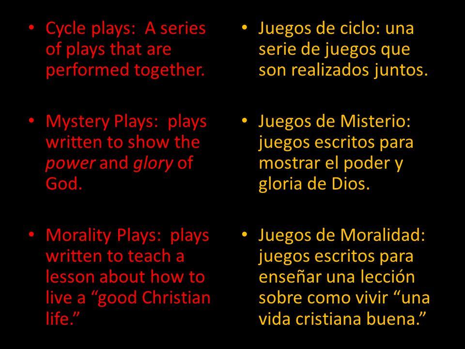 Types of Plays Cycle Plays Mystery Plays Morality Plays Tipos de Juegos Juegos de Ciclo Juegos de Misterio Juegos de Moralidad