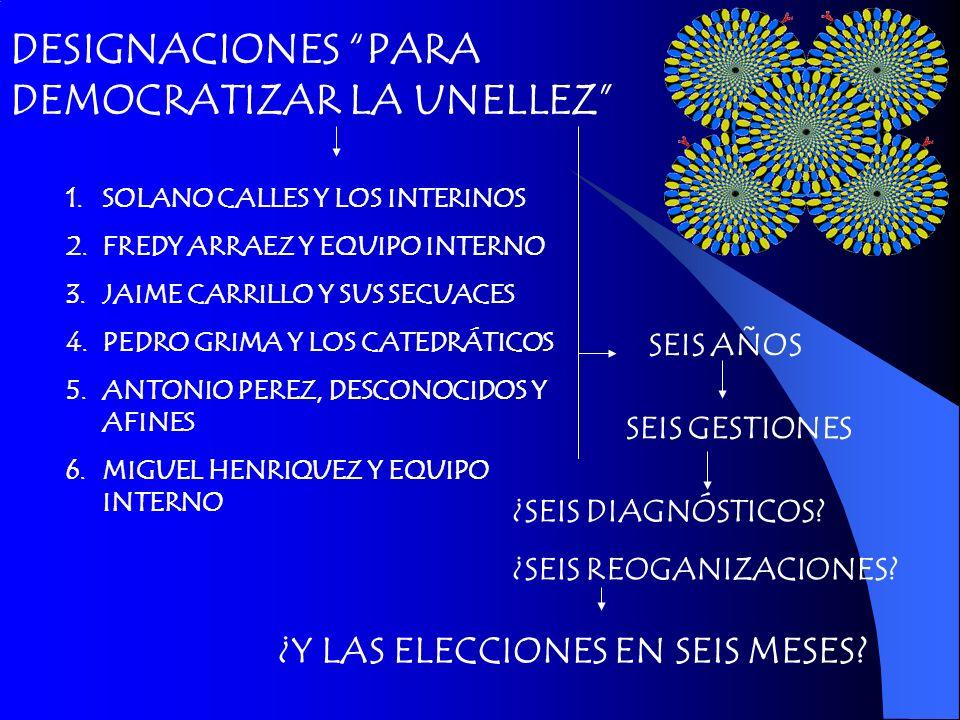 DESIGNACIONES PARA DEMOCRATIZAR LA UNELLEZ 1.SOLANO CALLES Y LOS INTERINOS 2.FREDY ARRAEZ Y EQUIPO INTERNO 3.JAIME CARRILLO Y SUS SECUACES 4.PEDRO GRI
