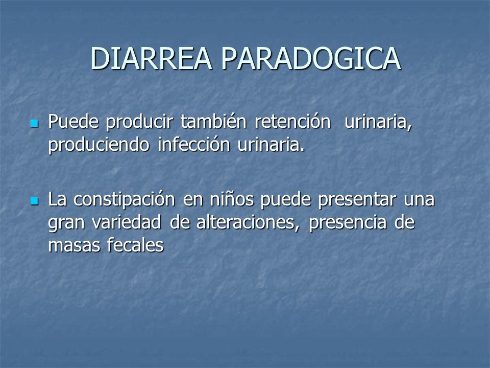 DIARREA PARADOGICA Puede producir también retención urinaria, produciendo infección urinaria. Puede producir también retención urinaria, produciendo i