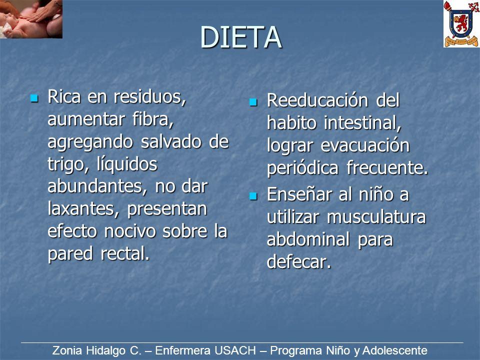 DIETA Rica en residuos, aumentar fibra, agregando salvado de trigo, líquidos abundantes, no dar laxantes, presentan efecto nocivo sobre la pared recta