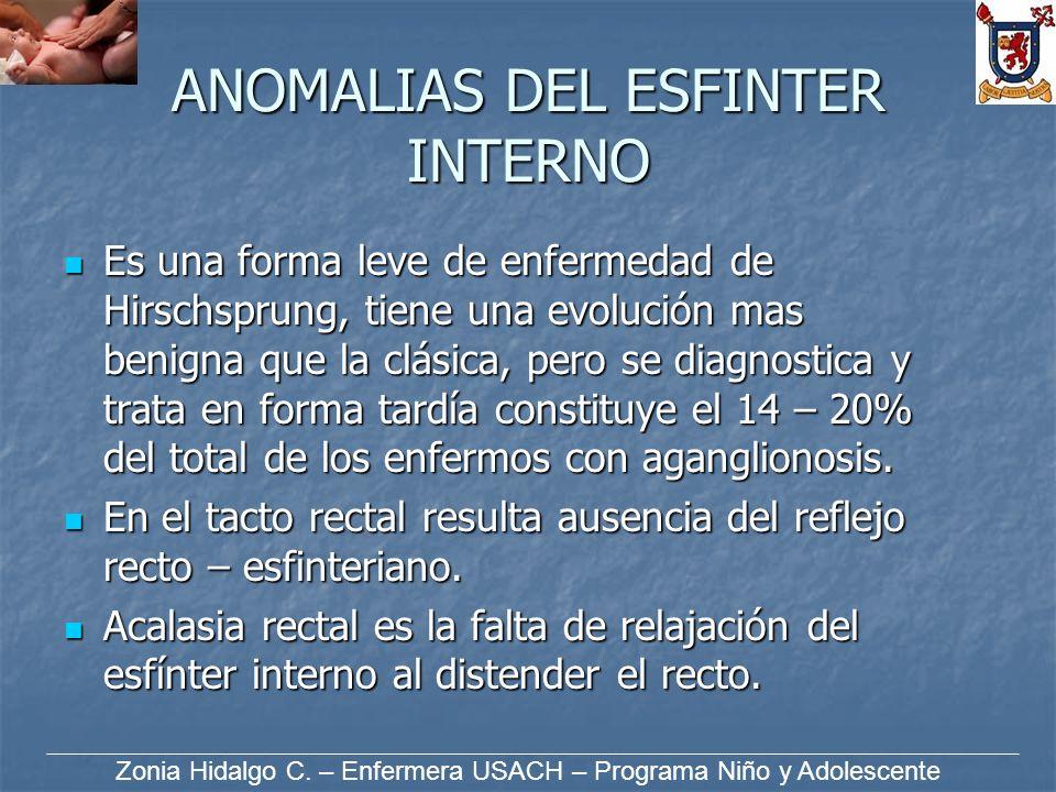 ANOMALIAS DEL ESFINTER INTERNO Es una forma leve de enfermedad de Hirschsprung, tiene una evolución mas benigna que la clásica, pero se diagnostica y