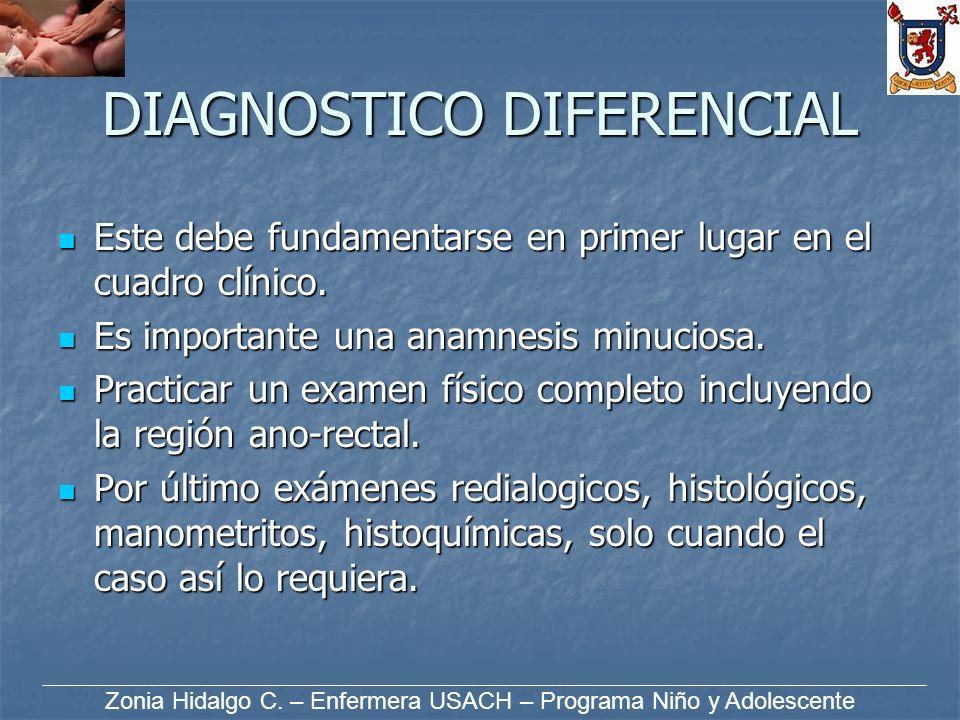 DIAGNOSTICO DIFERENCIAL Este debe fundamentarse en primer lugar en el cuadro clínico. Este debe fundamentarse en primer lugar en el cuadro clínico. Es