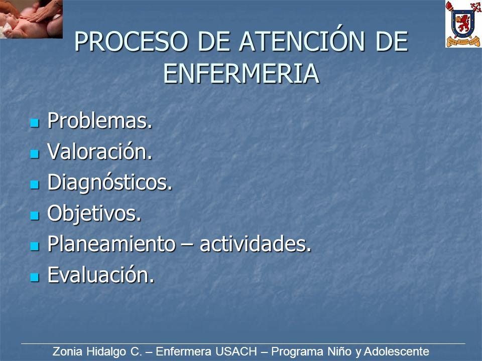 PROCESO DE ATENCIÓN DE ENFERMERIA Problemas. Problemas. Valoración. Valoración. Diagnósticos. Diagnósticos. Objetivos. Objetivos. Planeamiento – activ