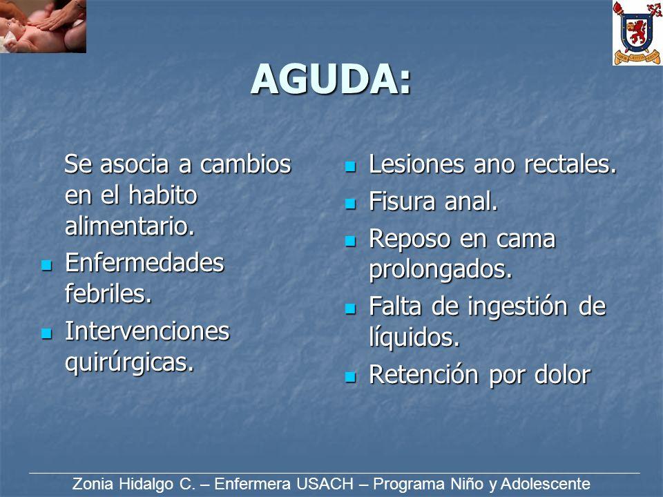 AGUDA: Se asocia a cambios en el habito alimentario. Se asocia a cambios en el habito alimentario. Enfermedades febriles. Enfermedades febriles. Inter