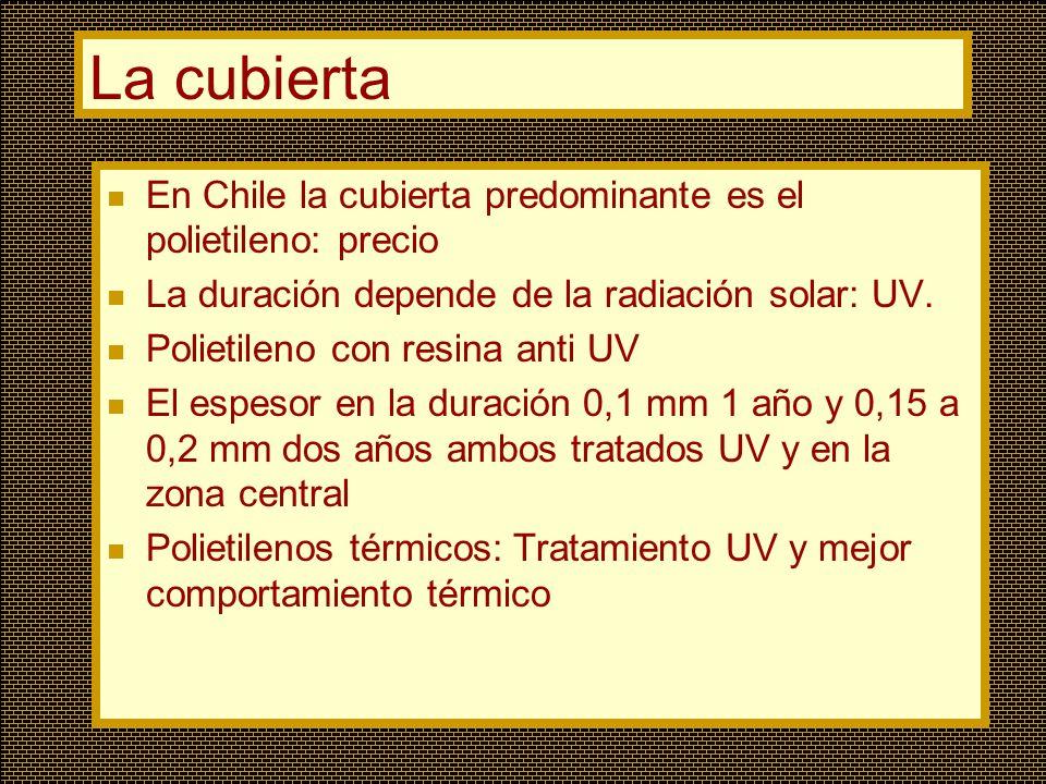 La cubierta En Chile la cubierta predominante es el polietileno: precio La duración depende de la radiación solar: UV. Polietileno con resina anti UV