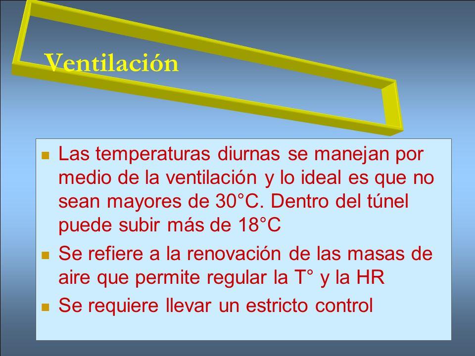Ventilación Las temperaturas diurnas se manejan por medio de la ventilación y lo ideal es que no sean mayores de 30°C. Dentro del túnel puede subir má