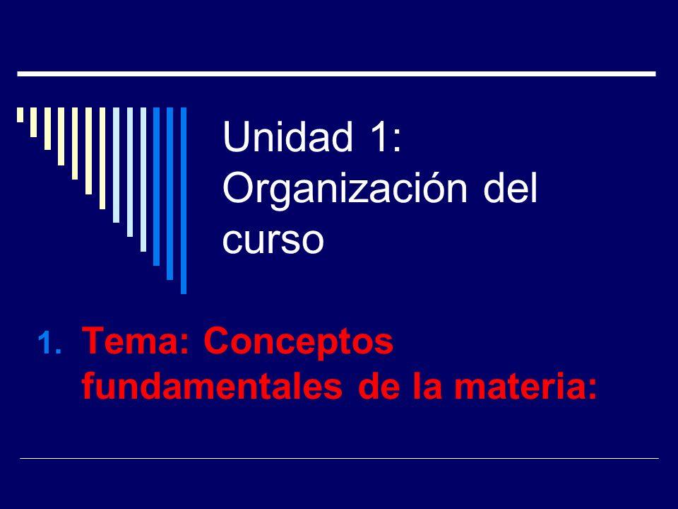 Unidad 1: Organización del curso 1. Tema: Conceptos fundamentales de la materia: