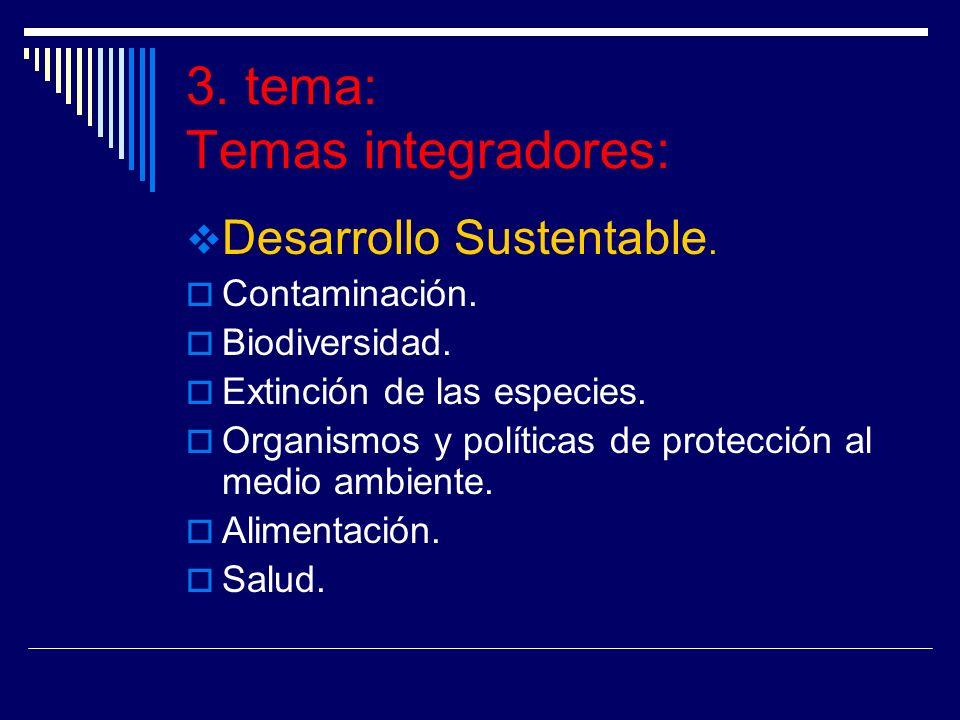 3. tema: Temas integradores: Desarrollo Sustentable. Contaminación. Biodiversidad. Extinción de las especies. Organismos y políticas de protección al