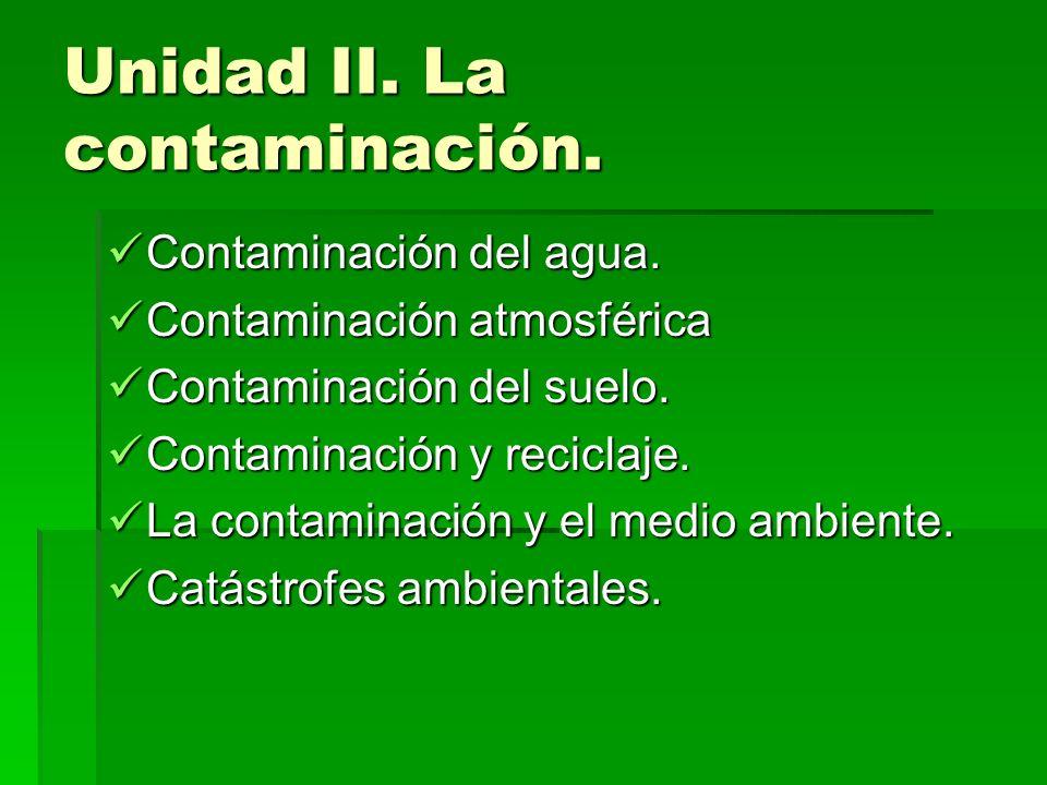 Unidad II. La contaminación. Contaminación del agua. Contaminación del agua. Contaminación atmosférica Contaminación atmosférica Contaminación del sue