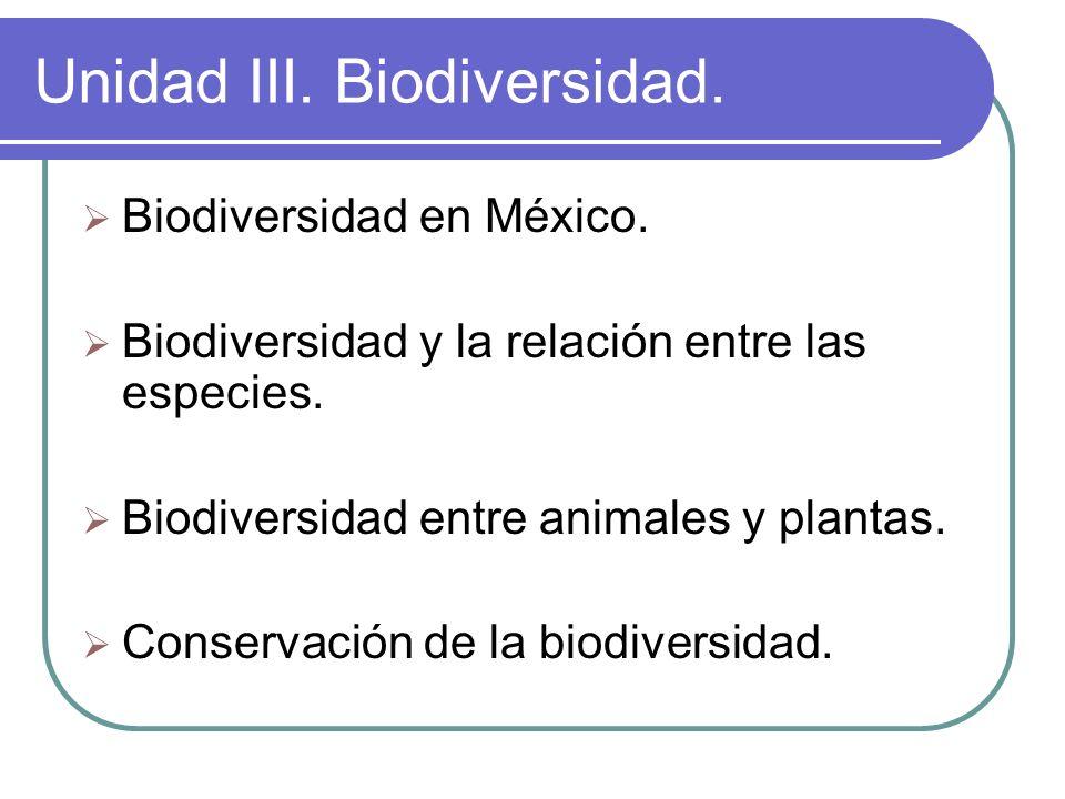 Unidad III. Biodiversidad. Biodiversidad en México. Biodiversidad y la relación entre las especies. Biodiversidad entre animales y plantas. Conservaci