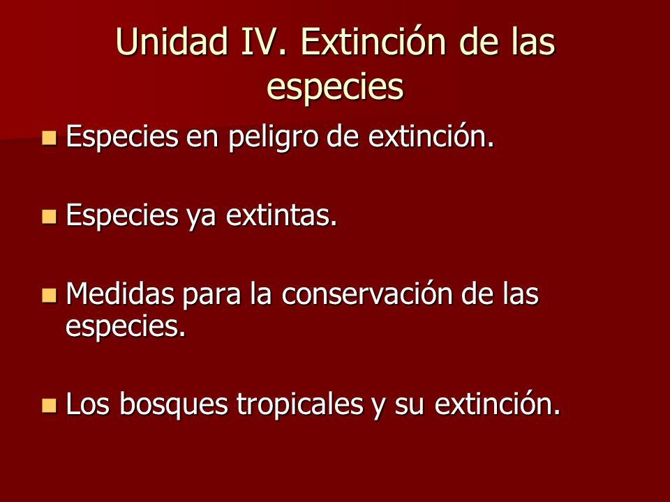Unidad IV. Extinción de las especies Especies en peligro de extinción. Especies en peligro de extinción. Especies ya extintas. Especies ya extintas. M
