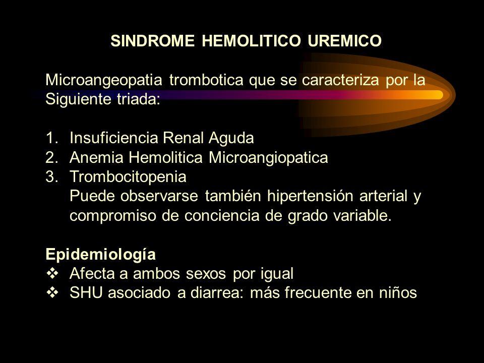 SINDROME HEMOLITICO UREMICO Microangeopatia trombotica que se caracteriza por la Siguiente triada: 1.Insuficiencia Renal Aguda 2.Anemia Hemolitica Mic