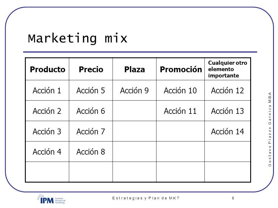 G u s t a v o P i a z z e G a r n i c a M.B.A E s t r a t e g i a s y P l a n d e M K T 8 Marketing mix ProductoPrecioPlazaPromoción Cualquier otro el