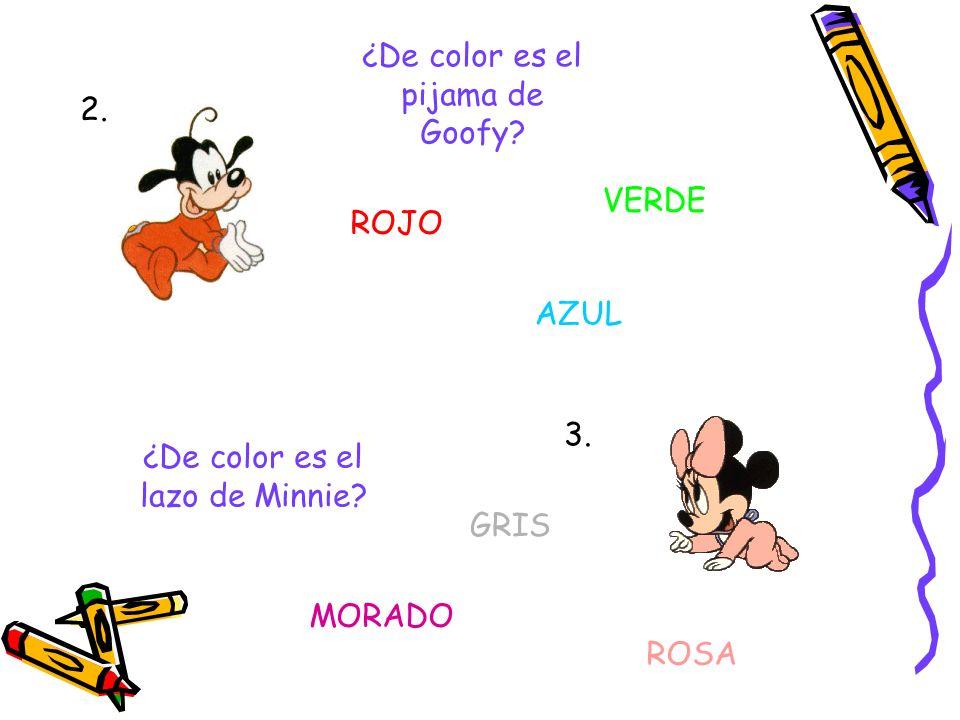 Juegos sobre los colores ¿De color son las orejas de Mickey? NEGRAS ROJAS AMARILLAS 1. A continuación aparecen imágenes sobre nuestros amigos, debes c