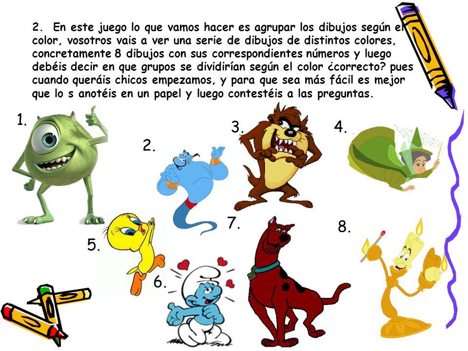 ¿De color es el pijama de Goofy? ¿De color es el lazo de Minnie? ROJO VERDE AZUL MORADO GRIS ROSA 2. 3.