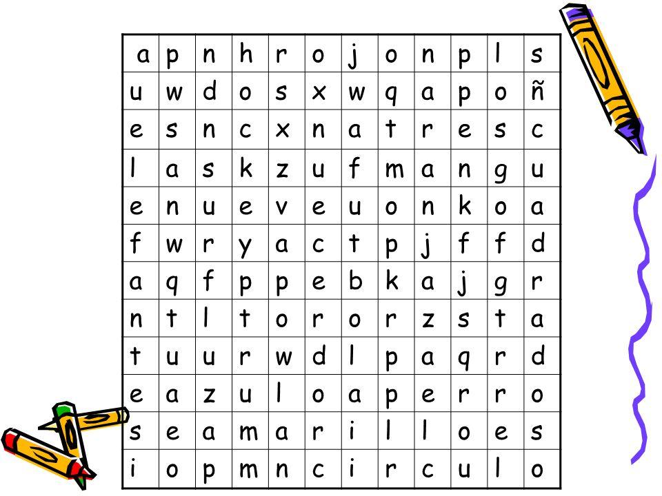 ACTIVIDADES FINALES 1. Tenéis que resolver esta sopa de letras donde pueden aparecer palabras de todo tipo es decir, colores, animales, deportes, toda