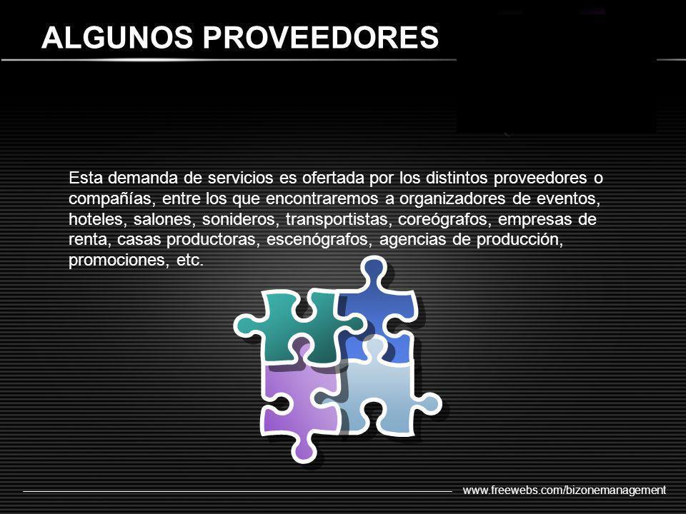 www.freewebs.com/bizonemanagement ALGUNOS PROVEEDORES Esta demanda de servicios es ofertada por los distintos proveedores o compañías, entre los que e