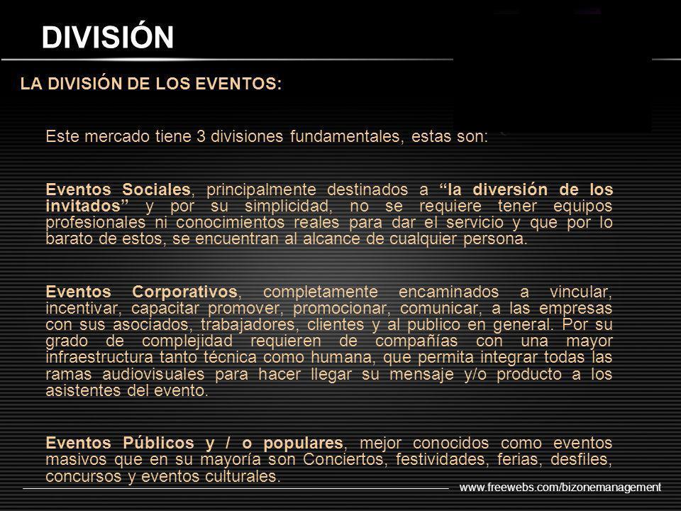 www.freewebs.com/bizonemanagement DIVISIÓN LA DIVISIÓN DE LOS EVENTOS: Este mercado tiene 3 divisiones fundamentales, estas son: Eventos Sociales, pri