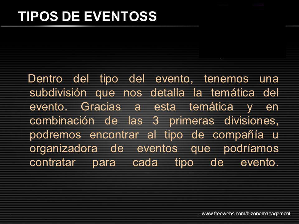 www.freewebs.com/bizonemanagement Dentro del tipo del evento, tenemos una subdivisión que nos detalla la temática del evento. Gracias a esta temática