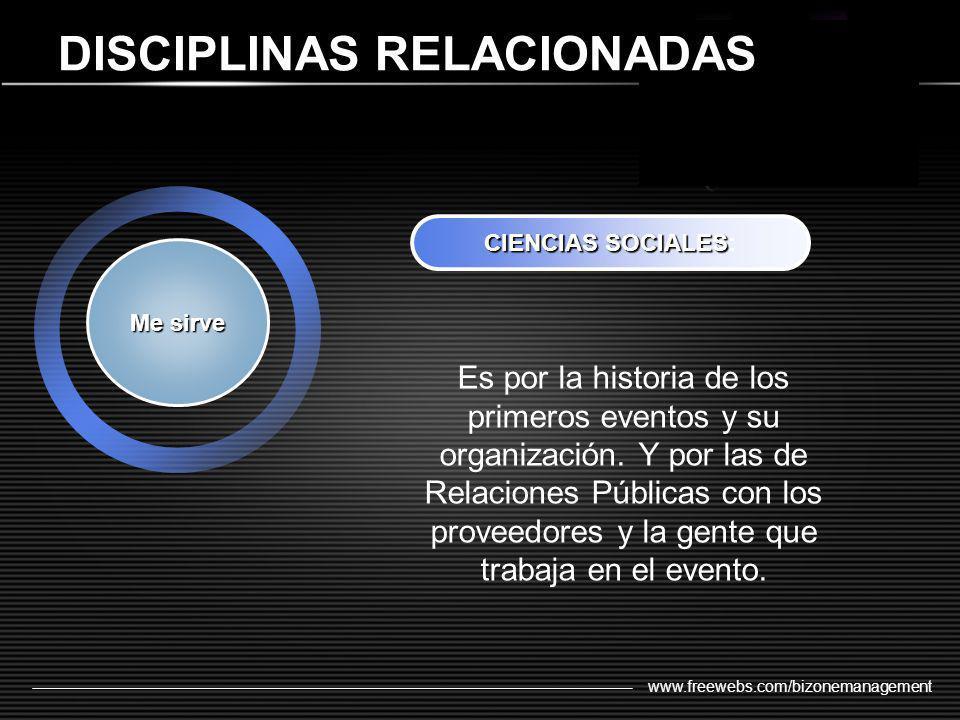 www.freewebs.com/bizonemanagement DISCIPLINAS RELACIONADAS Me sirve CIENCIASSOCIALES CIENCIAS SOCIALES: Es por la historia de los primeros eventos y s