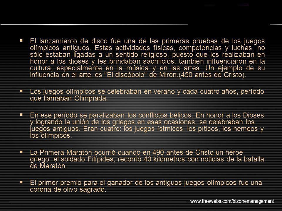 www.freewebs.com/bizonemanagement El lanzamiento de disco fue una de las primeras pruebas de los juegos olímpicos antiguos. Estas actividades físicas,