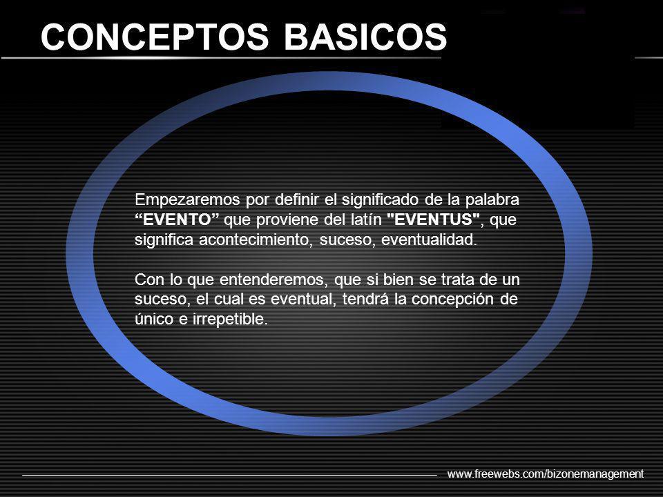 www.freewebs.com/bizonemanagement CONCEPTOS BASICOS Empezaremos por definir el significado de la palabra EVENTO que proviene del latín