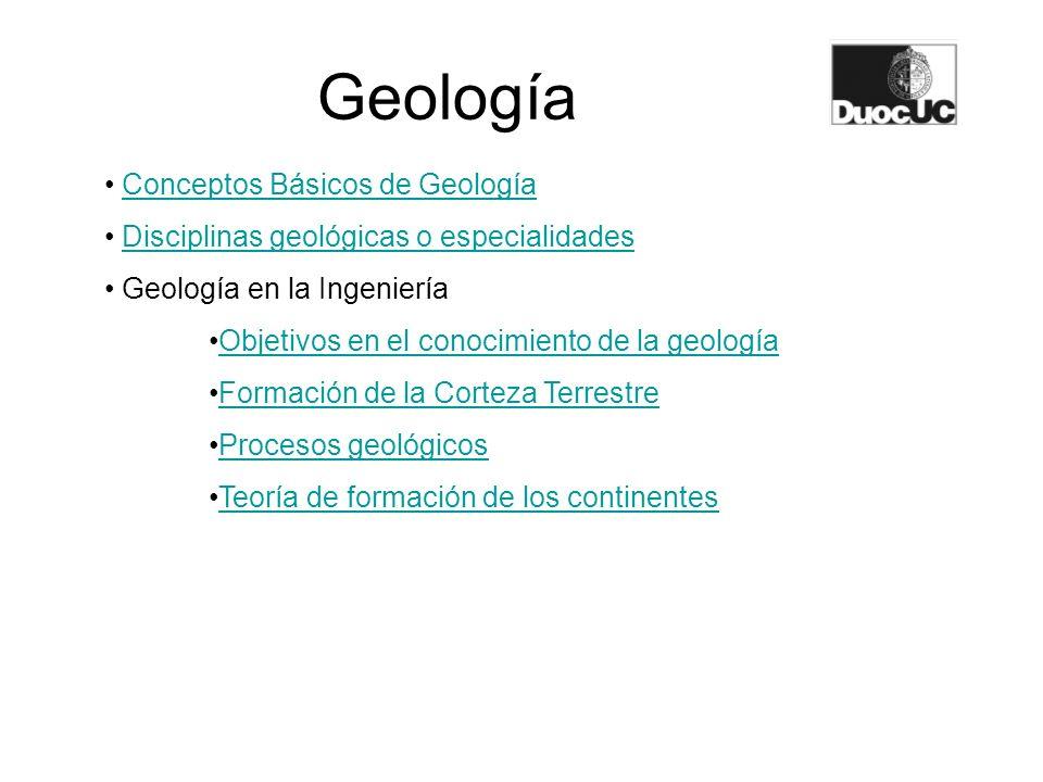 Geología Conceptos Básicos de Geología Disciplinas geológicas o especialidades Geología en la Ingeniería Objetivos en el conocimiento de la geología F