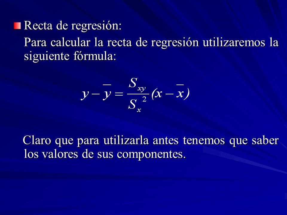Recta de regresión: Para calcular la recta de regresión utilizaremos la siguiente fórmula: Claro que para utilizarla antes tenemos que saber los valor