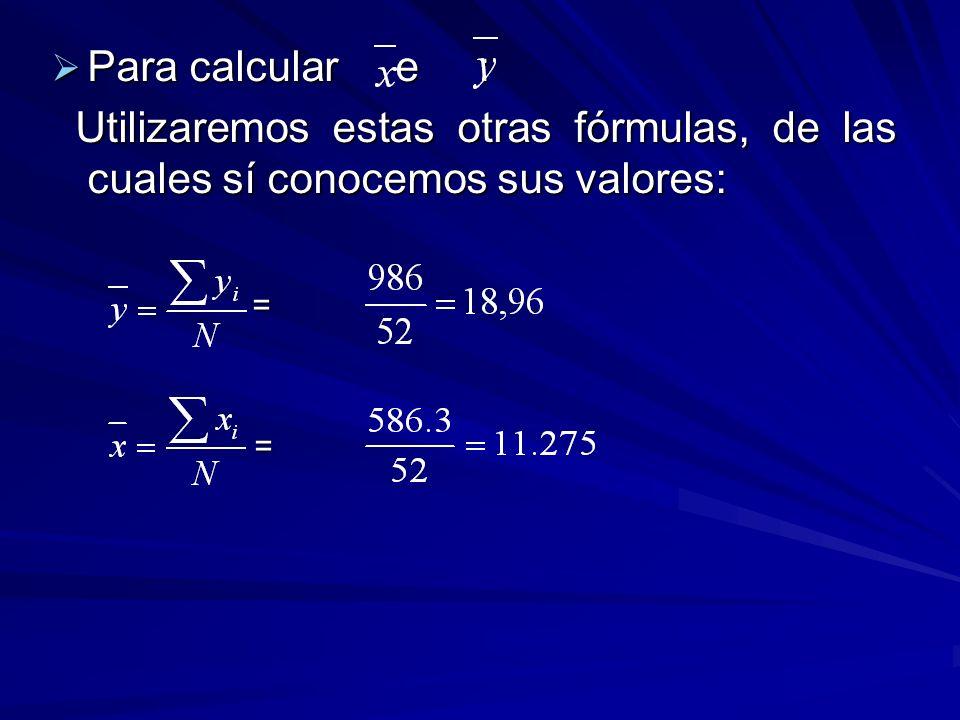 Para calcular y : Para calcular y : Al igual que en el caso anterior utiliza- remos estas fórmulas: Al igual que en el caso anterior utiliza- remos estas fórmulas: