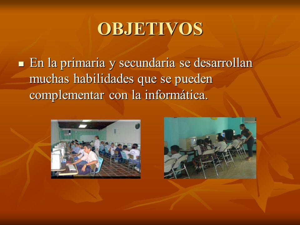 OBJETIVOS En la primaria y secundaria se desarrollan muchas habilidades que se pueden complementar con la informática. En la primaria y secundaria se