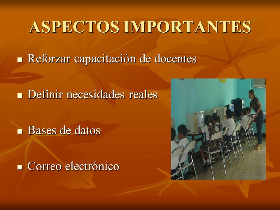 ASPECTOS IMPORTANTES Reforzar capacitación de docentes Reforzar capacitación de docentes Definir necesidades reales Definir necesidades reales Bases d