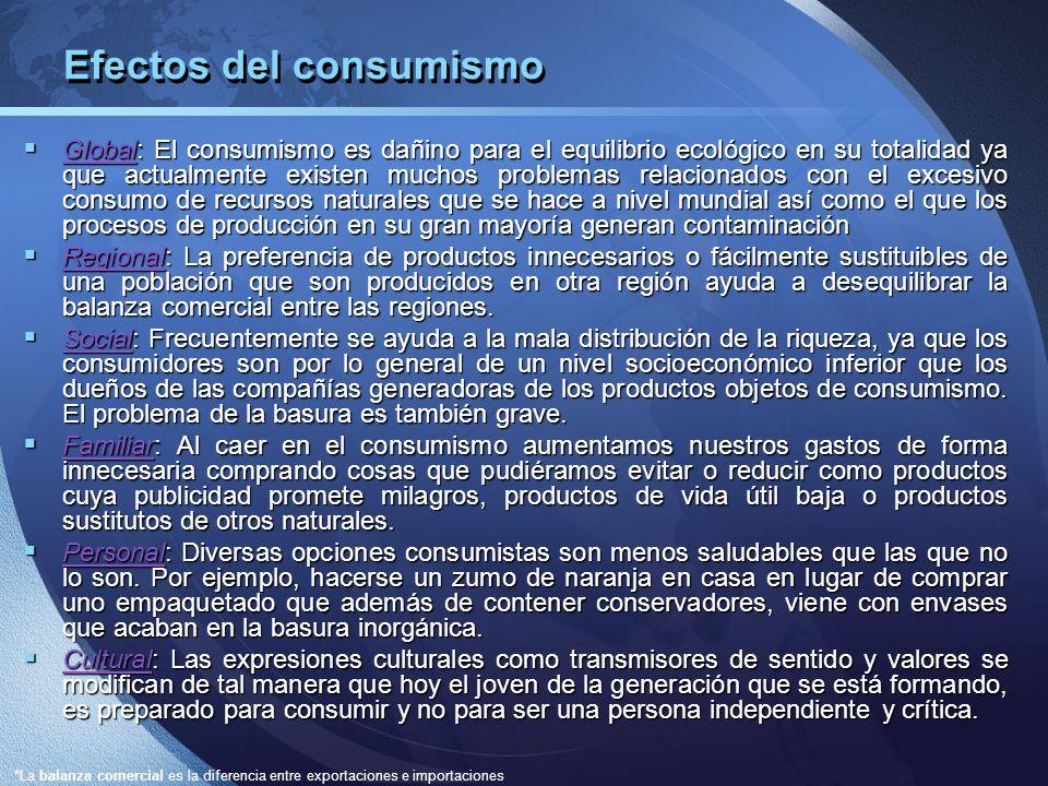 Efectos del consumismo Global: El consumismo es dañino para el equilibrio ecológico en su totalidad ya que actualmente existen muchos problemas relaci