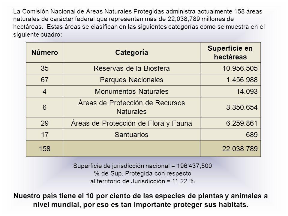 La Comisión Nacional de Áreas Naturales Protegidas administra actualmente 158 áreas naturales de carácter federal que representan más de 22,038,789 mi