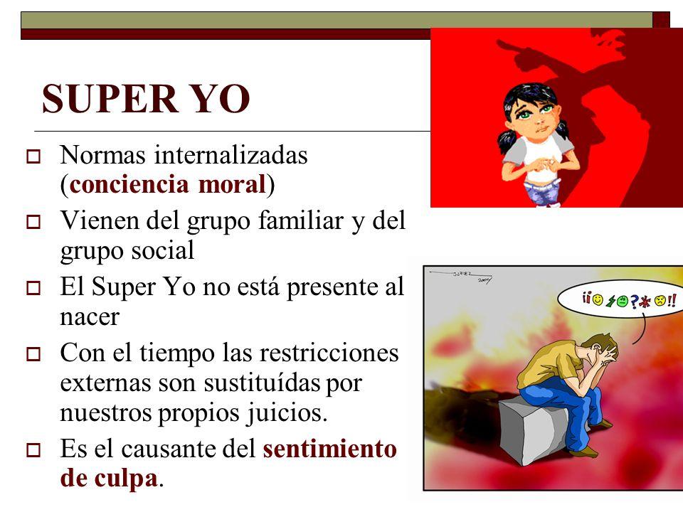 SUPER YO Normas internalizadas (conciencia moral) Vienen del grupo familiar y del grupo social El Super Yo no está presente al nacer Con el tiempo las