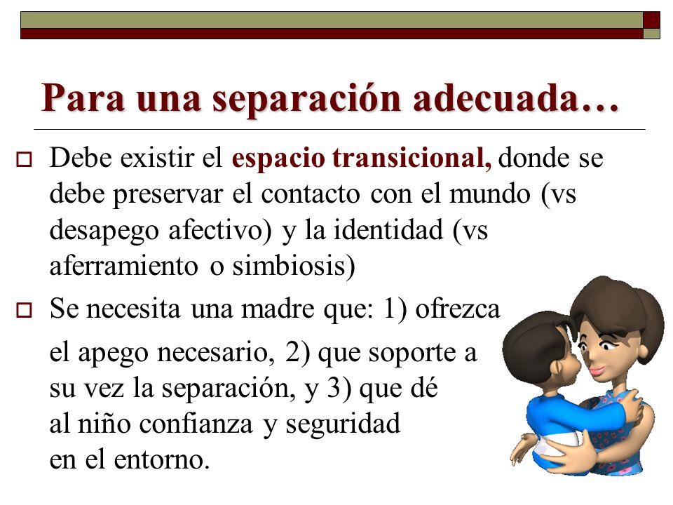 Para una separación adecuada… Debe existir el espacio transicional, donde se debe preservar el contacto con el mundo (vs desapego afectivo) y la ident