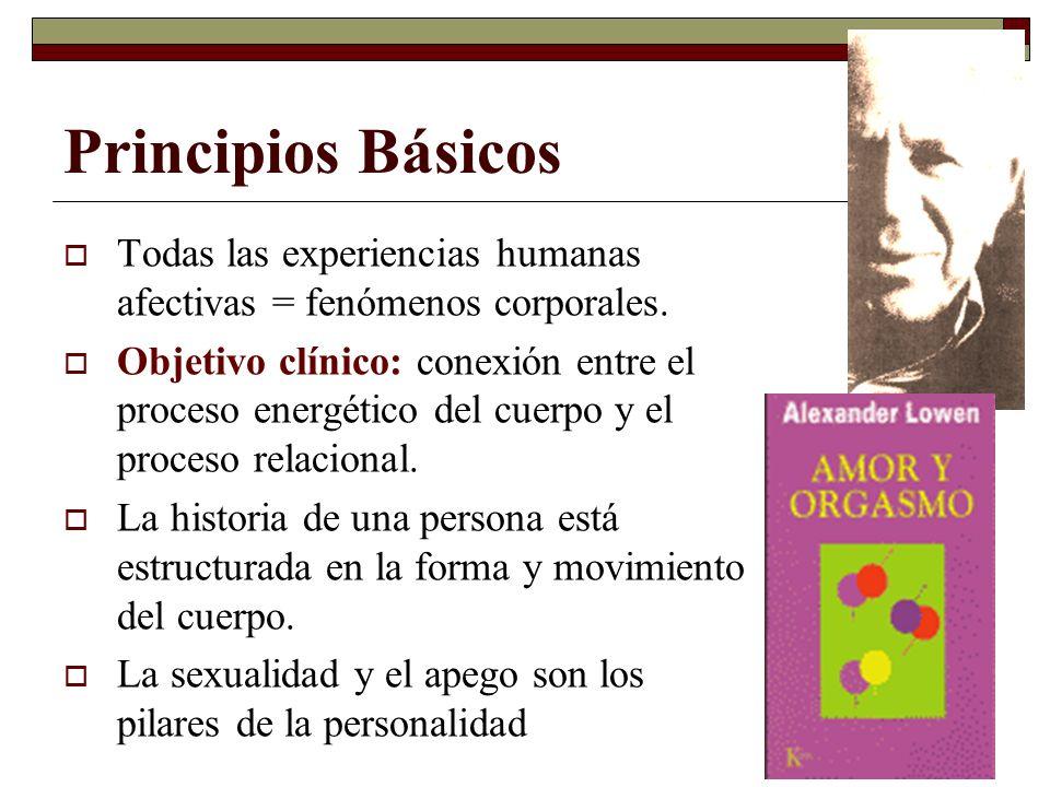 Principios Básicos Todas las experiencias humanas afectivas = fenómenos corporales. Objetivo clínico: conexión entre el proceso energético del cuerpo