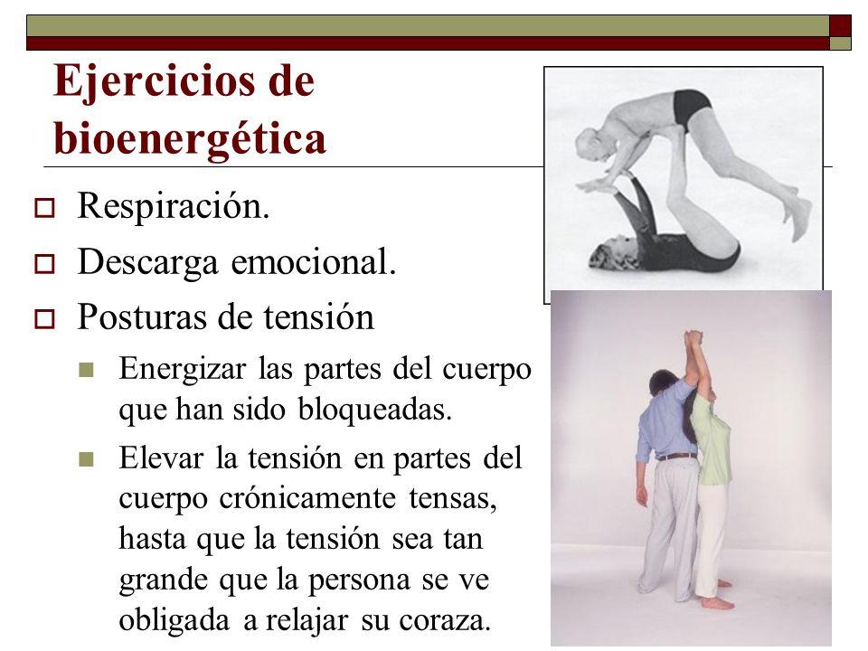 Ejercicios de bioenergética Respiración. Descarga emocional. Posturas de tensión Energizar las partes del cuerpo que han sido bloqueadas. Elevar la te