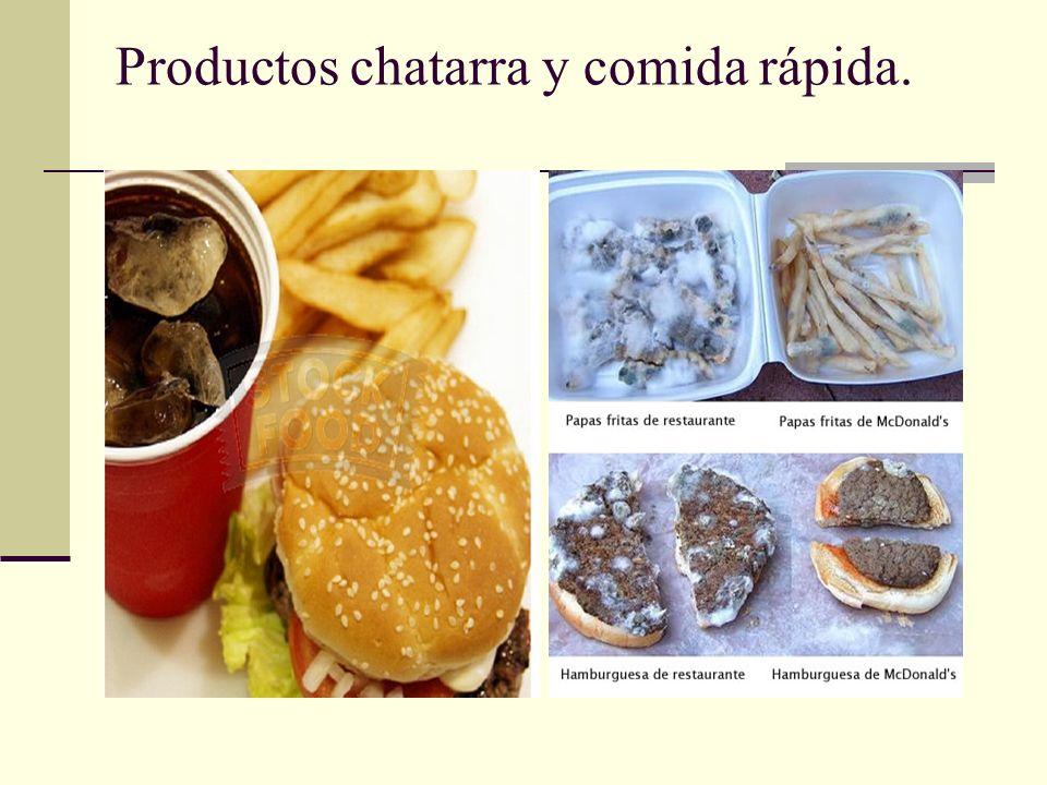 Productos chatarra y comida rápida.