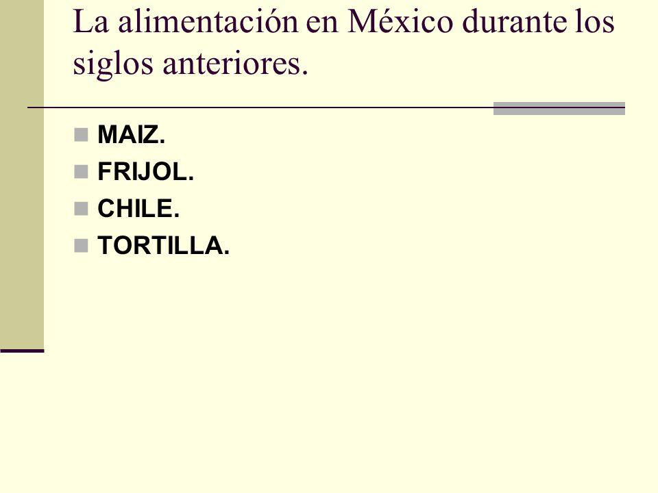 La alimentación en México durante los siglos anteriores. MAIZ. FRIJOL. CHILE. TORTILLA.