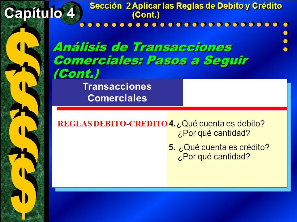 Análisis de Transacciones Comerciales: Pasos a Seguir (Cont.) Transacciones Comerciales REGLAS DEBITO-CREDITO 4.¿Qué cuenta es debito? ¿Por qué cantid