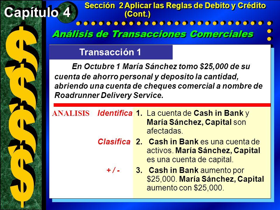 Análisis de Transacciones Comerciales Transacción 1 ANALISIS Identifica1.La cuenta de Cash in Bank y María Sánchez, Capital son afectadas. Clasifica2.