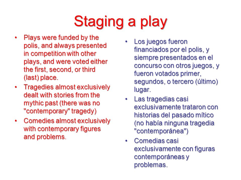 Staging a play Plays were funded by the polis, and always presented in competition with other plays, and were voted either the first, second, or third